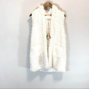 NWT! Listicle • Hooded White Faux Fur Vest